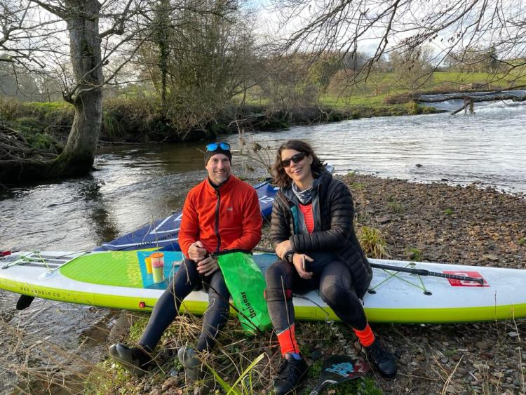 South Hams SUP WALK guides Simon and Mandy on the river Erm