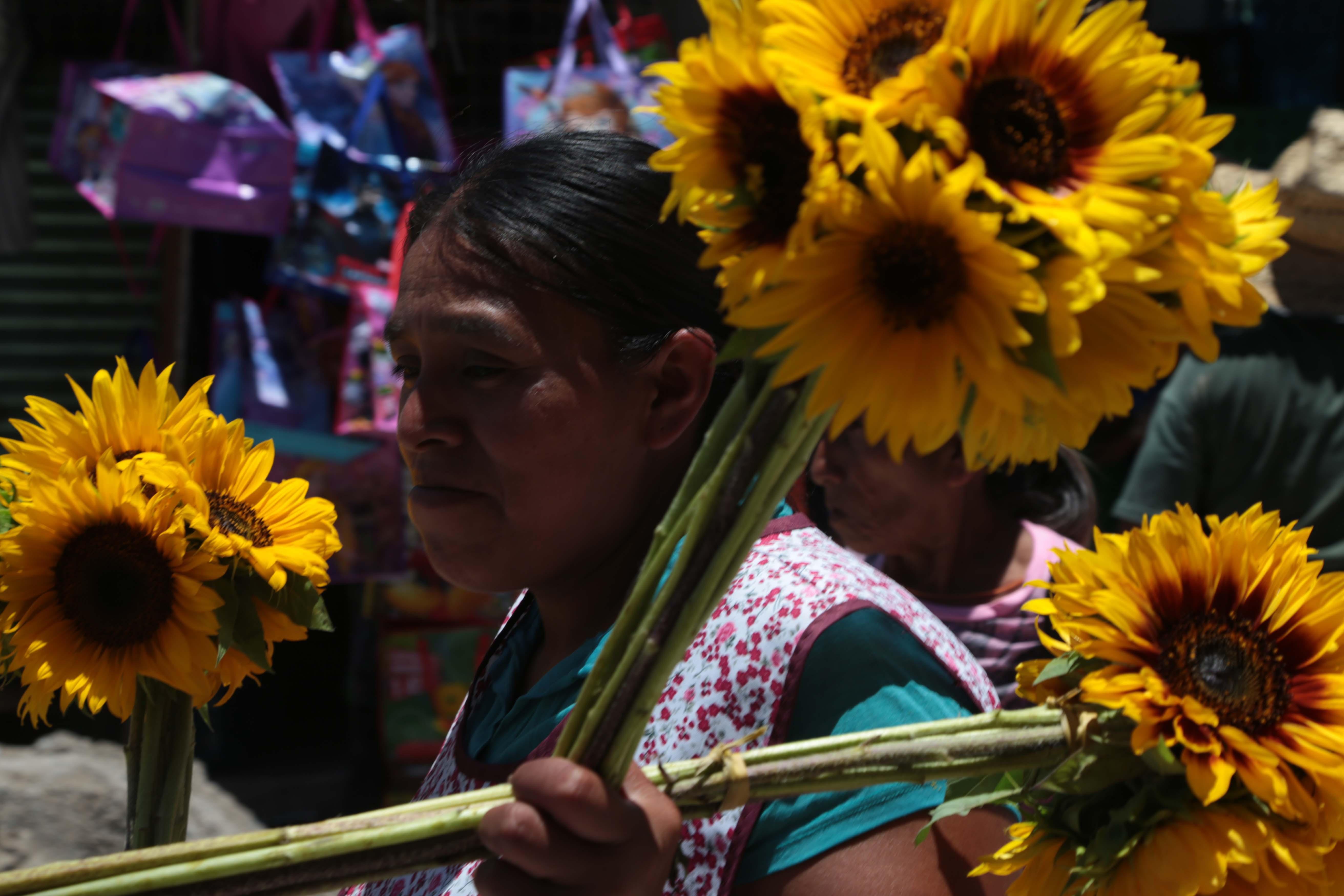Chilpancingo, Guerrero 07 del 2017. Mujer camina en la calle 21 de Marzo ofreciendo ramos de girasoles. Foto: Jessica Torres Barrera