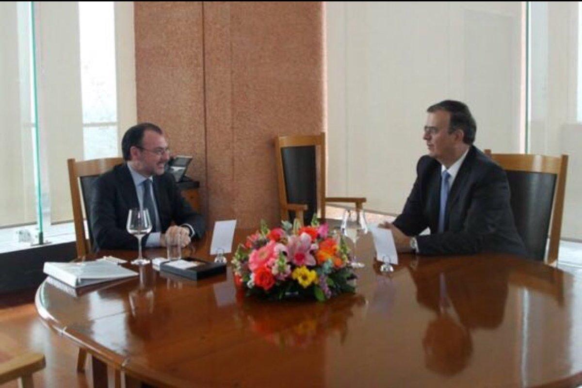 13082018- En fotografía Marcelo Ebrard, futuro canciller y el actual secretario de Relaciones Exteriores, Luis Videgaray, se reúnen como parte del proceso de transición de la SRE