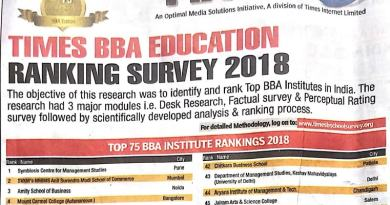 MSI is ranked 1st in Delhi for BBA by Times Survey