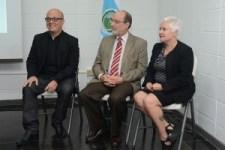 Eddie Mora, Henning Jensen y Patricia Fumero fueron los encargados de dar los discursos de inauguración (foto Rafael León Herrera).