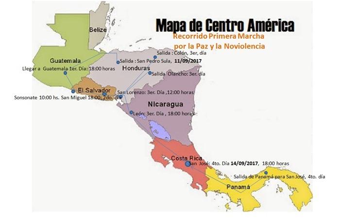 Marcha por la Paz y la No Violencia en preparacion en Centroamerica