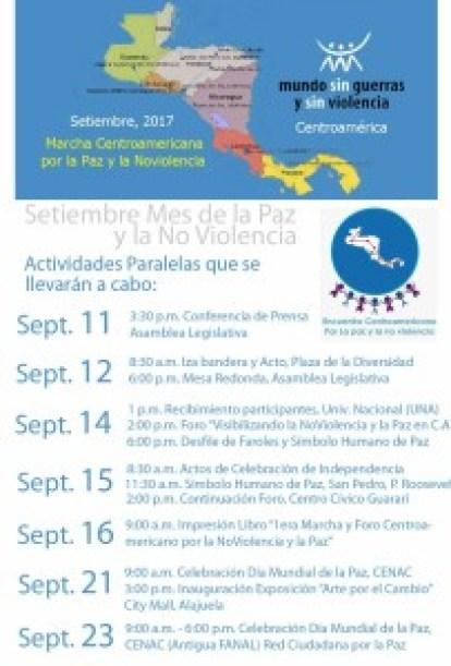 Marcha Centroamericana por la Paz y la No Violencia actividades paralelas