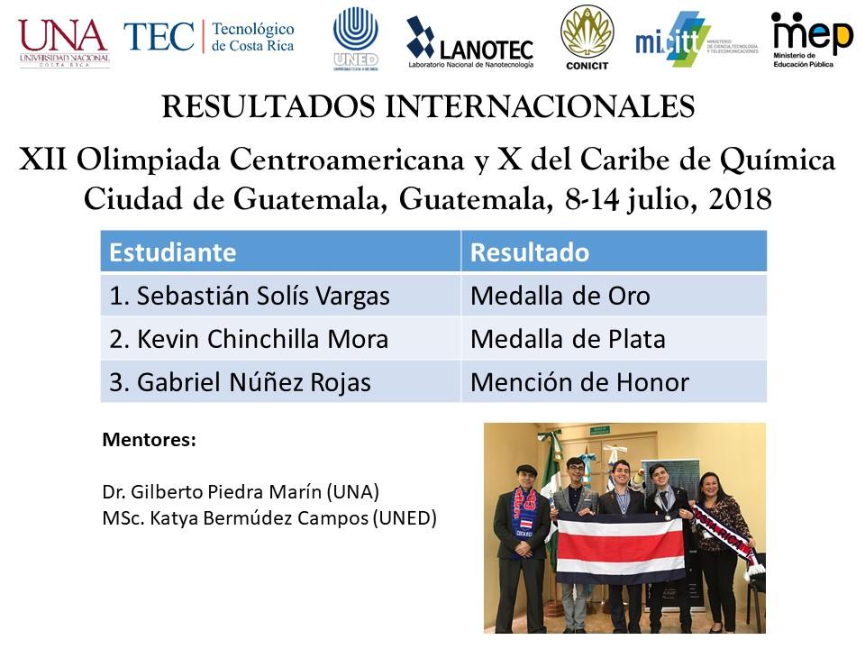 Costa Rica gana por segundo ano consecutivo medallas de Oro y de Plata en la Olimpiada Centroamericana y del Caribe de Quimica5