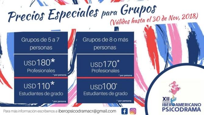 precios especiales XII Congreso Iberoamericano de Psicodrama