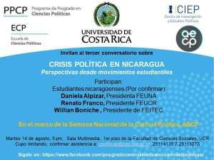 Conversatorio sobre Crisis Politica en Nicaragua en la UCR