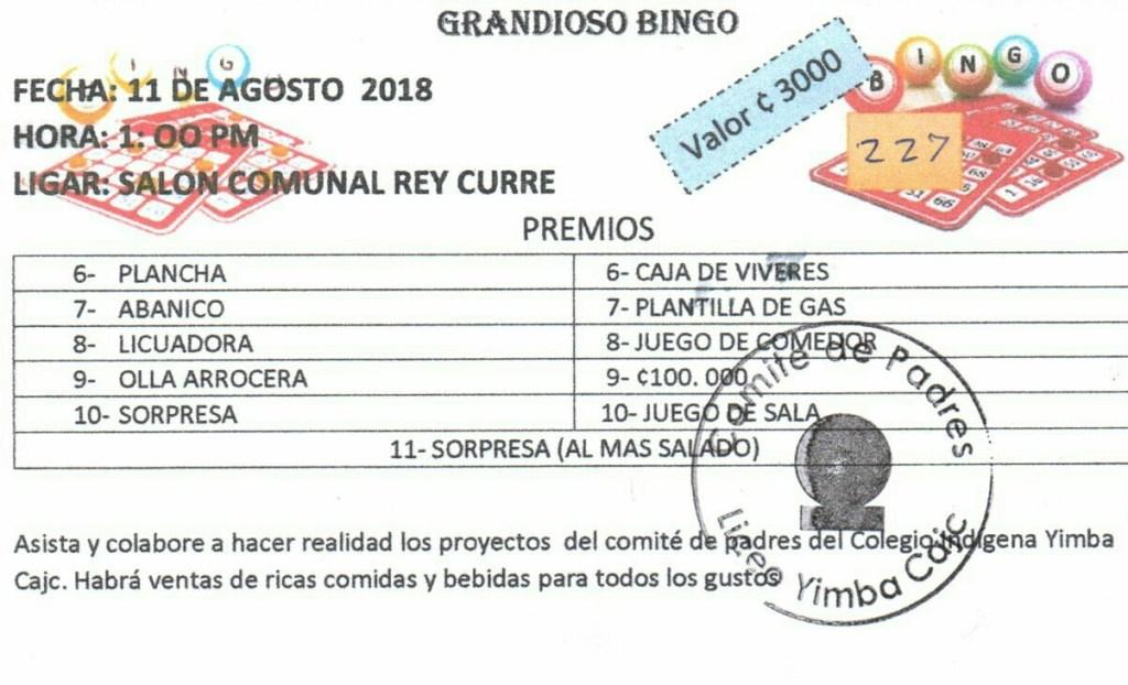 Grandioso bingo en Rey Curre