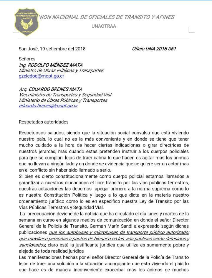 Pronunciamiento de la Union Nacional de Oficiales de Transito y Afines
