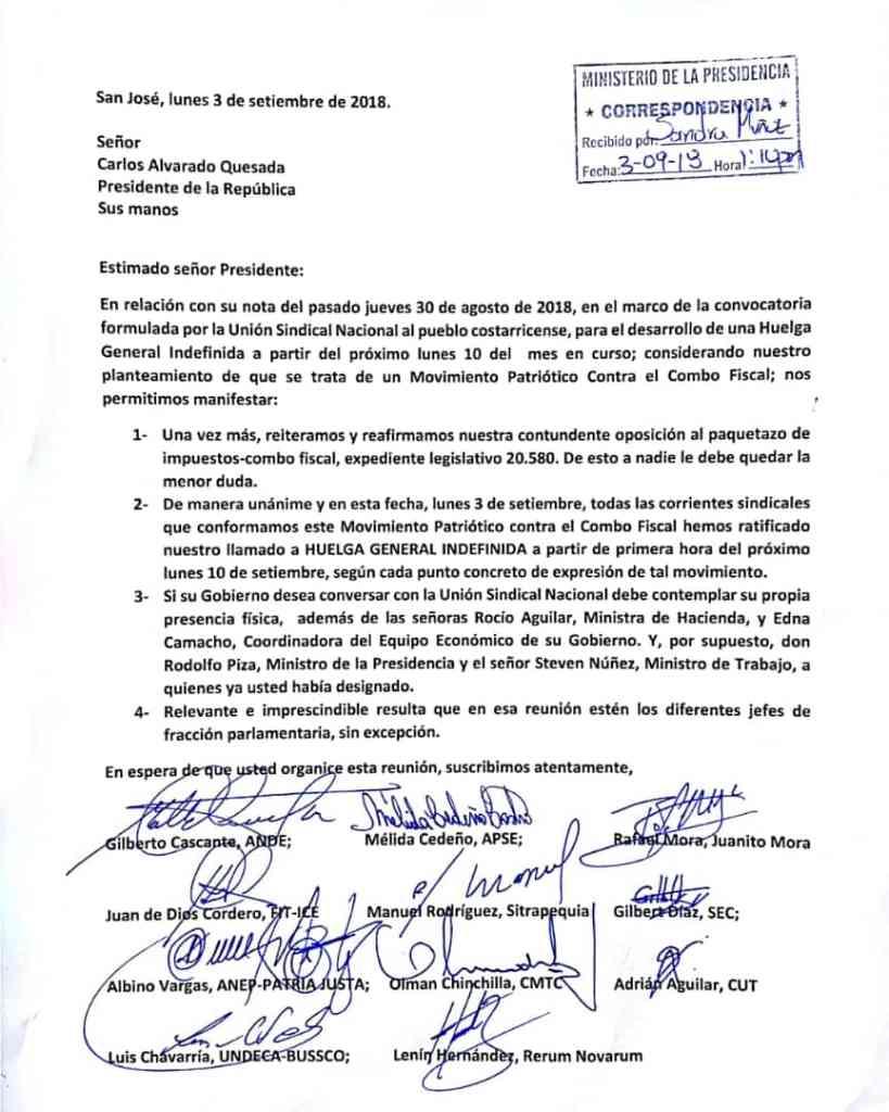 Union Sindical informa al Presidente condiciones para dialogo fiscal