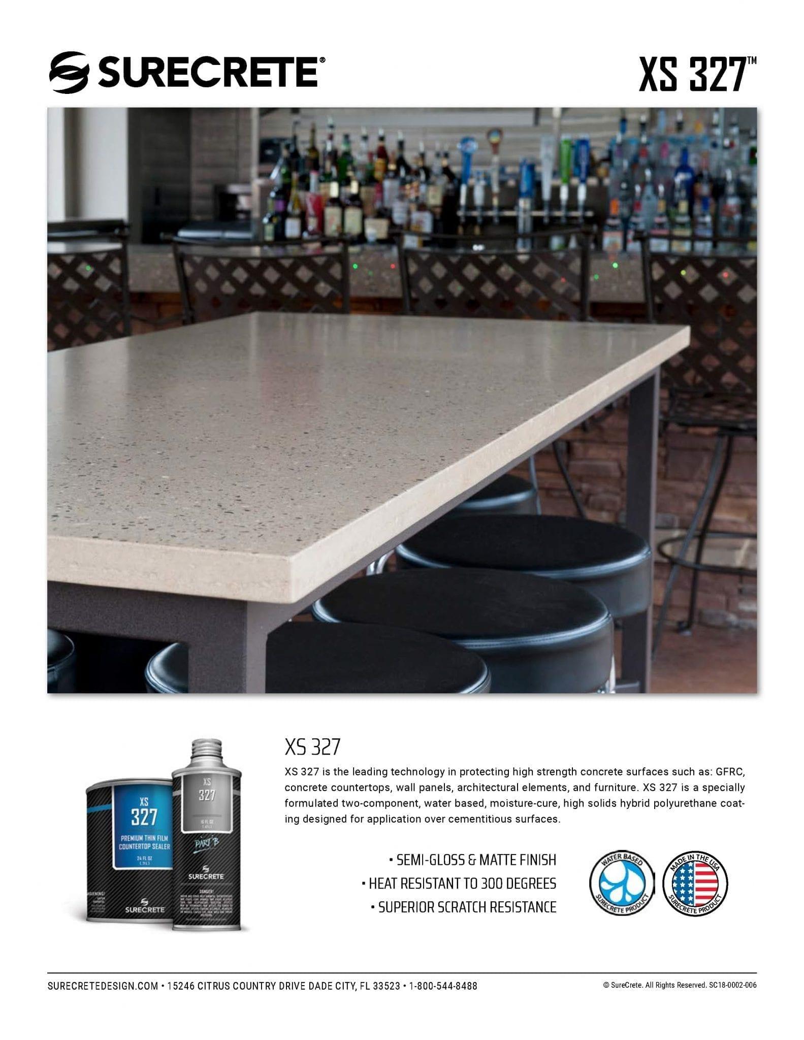 concrete countertop sealer food safe coating gloss or matte xs 327