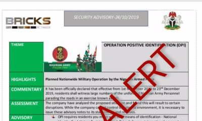 """Army Speaks On Planned Nationwide """"Operation Positive Identification"""""""