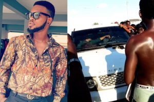 Broda Shaggi Cries Out After Touts Extorted And Damaged His Expensive Car In Lekki (Video)