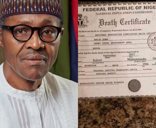 So-called Death Certificate Of President Buhari Leaked Online (Photo)