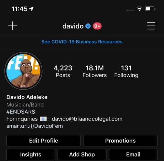 I Begged A Brazilian For 10 Years - Davido As He Changes His Instagram Name (Photos)