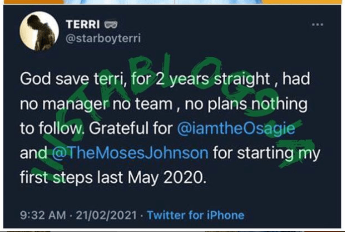Without Wizkid In The Picture, Terri Is Grateful To Osagie & Moses Johnson For Bringing Him Back In 2020
