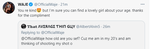 """Find Your Age Mate"" – Waje Shuns Fan Who Tried Shooting His Shot"
