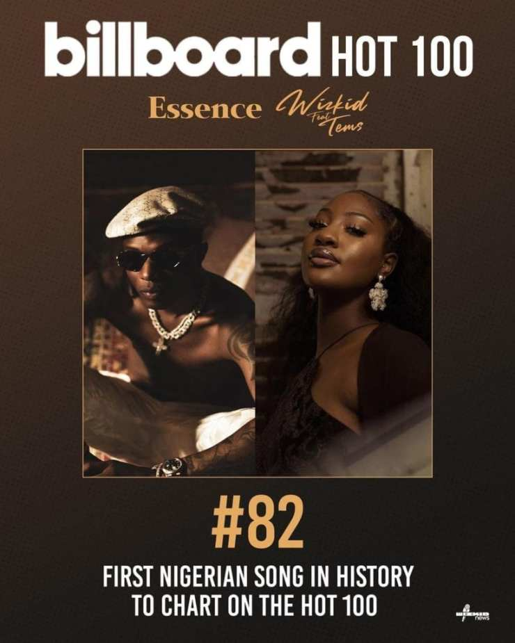 """Wizkid Makes History As """"Essence"""" Becomes The First Nigerian Song To Debut At No.82 On Billboard Hot 100"""