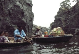 Copyright © Sherley J. Edinbarough (Surely, Sherley and/or SurelySherley), 2014. Paricel (Boat) rides along the pathway of the Hogenakkal Falls. Innovative idea of delivering refreshments to the tourists by Paricel (boat).