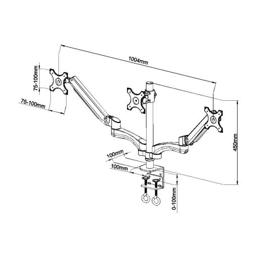 Triple Monitor Desk Mount Measurements