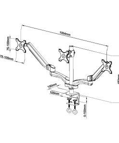 Triple Monitor Desk Mount Measurements