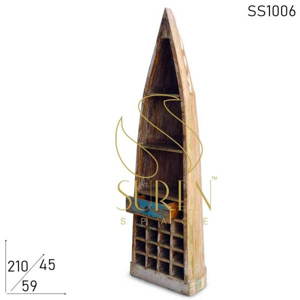 SS1006 Suren Space Distress Reclaimed Wood Wine Cabinet with Drawer