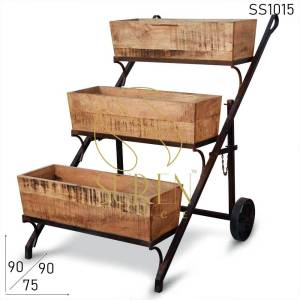 SS1015 Suren Space Rough Mango Wood Rustic Finish Display Cum Garden Cart