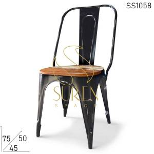 SS1058 Suren Space Black Distress Stackable Metal Popular Chair with Wood Seating