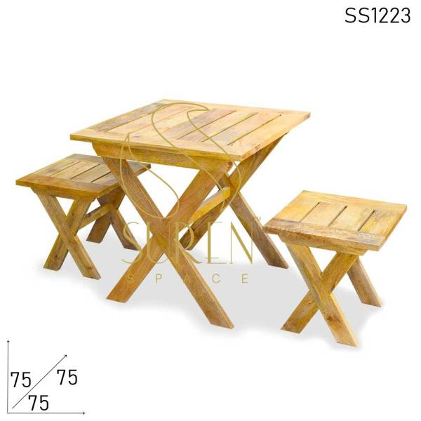 SS1223 Suren Space Solid Mango Wood Natural Finish Cafeteria Bakery Shop Meubles