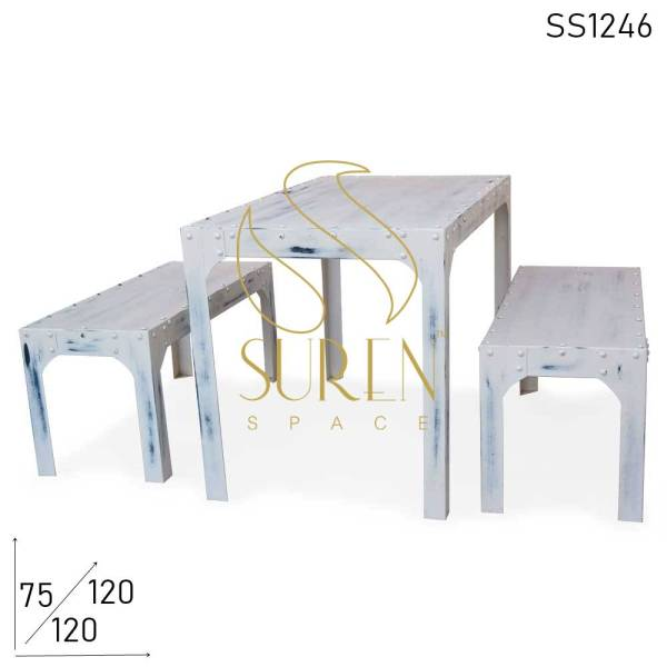 SS1246 Suren Space White Distress Metal All-Weather Bench Table Set