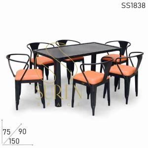 SS1838 Suren Space MS Black Metal Outdoor Restaurant Table Chairs Set