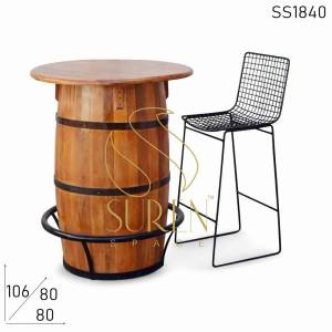 SS1840 Suren Space Barrel Drum Design Handcrafted Bar Table Set