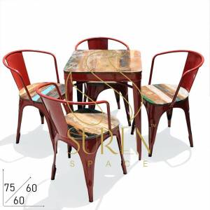 SS1848 Suren Espaço Popular Café Exterior Indoor Stackable Table Chairs set