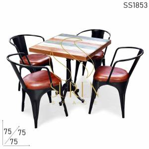 SS1853 Suren Space Cast Iron Adjustable Café Restaurant Table Chairs Set