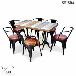 SS1854 Suren Space Design Multicolored Cast Iron Table Chair Set
