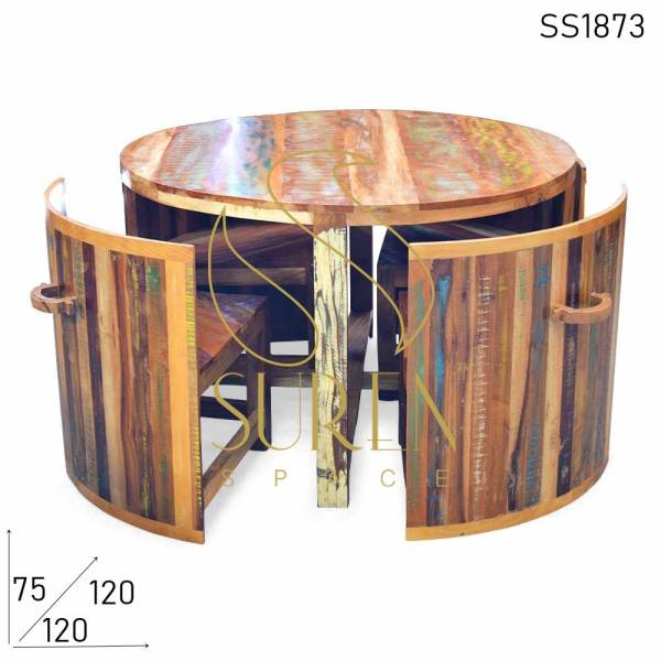 SS1873 Suren Space Recycled Compact Round Four Seating Dining Set