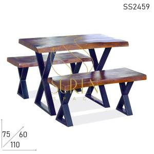 SS2459 Suren Space Live Edge Solid Wood Cafeteria Bench Table Set