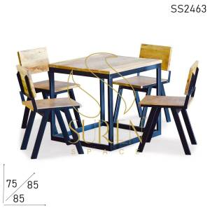 SS2463 Suren Space Solid Mango Wood Metal Square Restaurant Dining Set