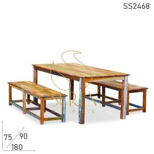 SS2468 Suren Space Recycled Distress Unique Canteen Food Court Dining Set