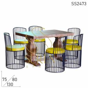 SS2473 Suren Space Semi Outdoor Metal Aara Mango Wood Restaurant Dining Set