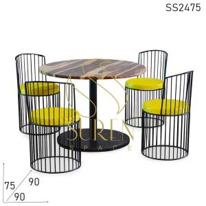 SS2475 Suren Space Solid Wood Metal Combo Bistro Bakery Cafeteria Dining Set
