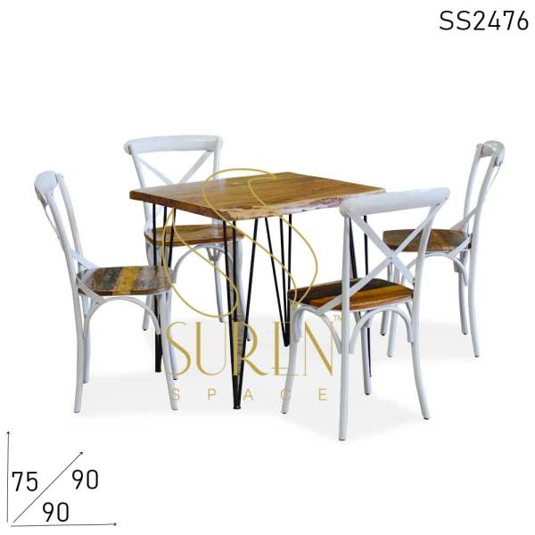 SS2476 Suren Space Cross Back Live Edge Acacia Wood Bistro Semi Outdoor Table Chairs Set
