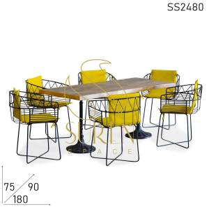 SS2480 Suren Space Semi Outdoor Metal Design Mango Solid Wood Dining Table Set
