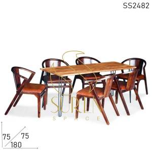 SS2482 Suren Space Minimalist Solid Wooden Restaurant Dining & Chairs Set