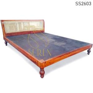 SS2603 Suren Space Natural Cane Solid Wood Carved Bedroom Hotel Resort Platform Bed Design