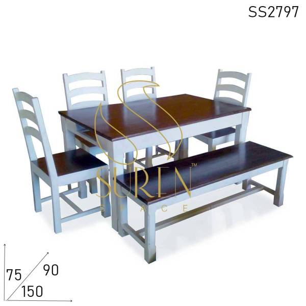 SS2797 Suren Space Pure White Solid Wood Bench Chair Table Home Dining Set