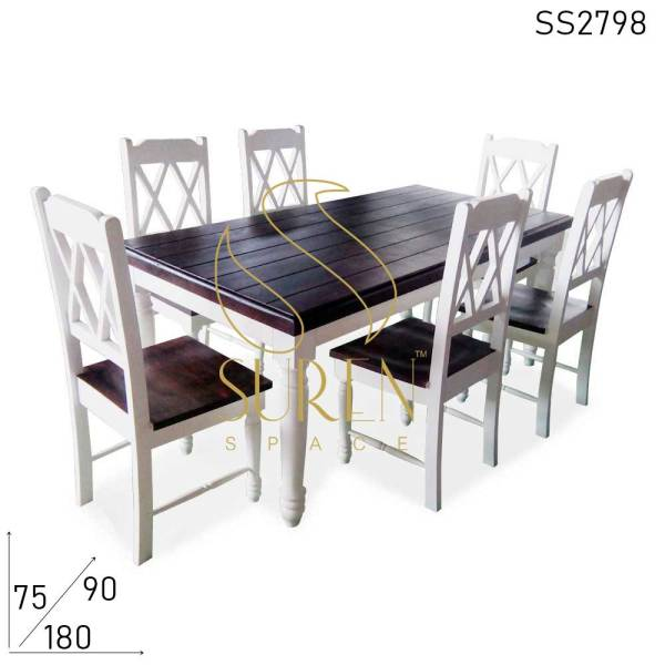 SS2798 Suren Space Pure White Walnut Combo Solid Wood Fine Dine Restaurant Dining Set