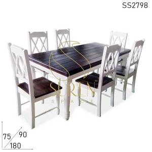 SS2798 Suren Space Pure White Walnut Combo Solid Wood Fine Dine Restaurant Restaurant Ensemble à manger