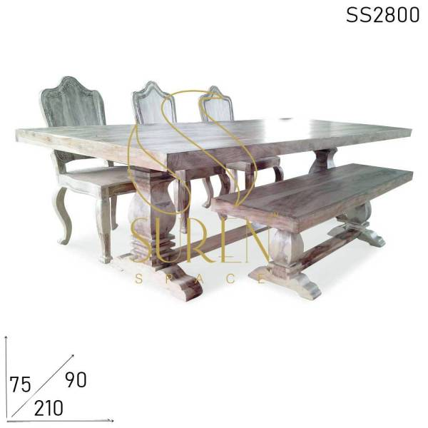 SS2800 Suren Space Sand Blasted White Distress Solid Wood Curved Dining Bench Set