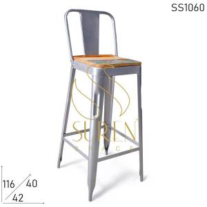 SS1060 Suren Space Silver Finish Reclaimed Seating Compact Bar Chair