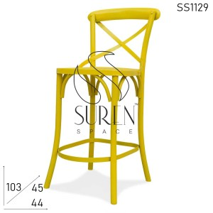 SS1129 Suren Space Cross Back Metal Frame Solid Outdoor Brewery Brew Pub Chair